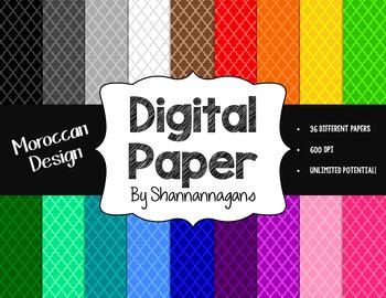 12x12 Digital Paper - Basics Bundle: Quatrefoil and Moroccan (600dpi)