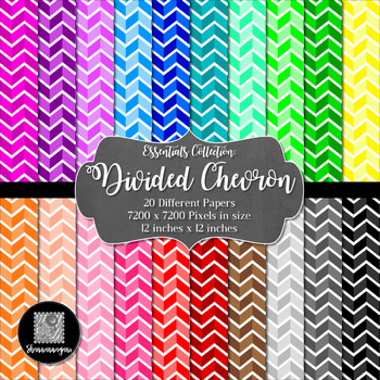 12x12 Digital Paper - Essentials: Divided Chevron (600dpi)