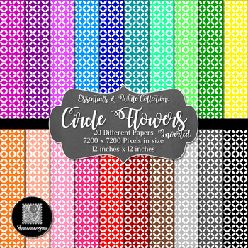 12x12 Digital Paper - Essentials & White: Circle Flower - Inverted (600dpi)