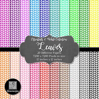 12x12 Digital Paper - Essentials & White: Leaves (600dpi)