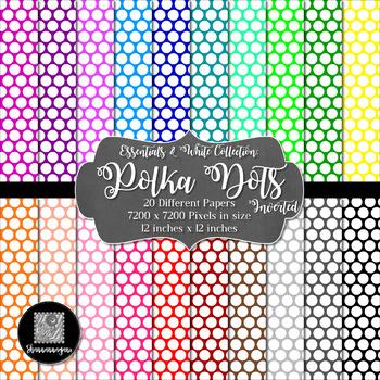 12x12 Digital Paper - Essentials & White: Polka Dots - Inverted (600dpi)