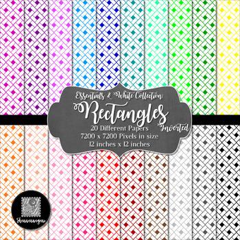 12x12 Digital Paper - Essentials & White: Rectangles - Inverted (600dpi)