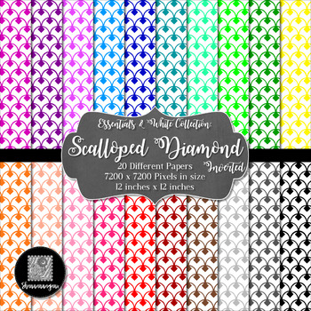 12x12 Digital Paper - Essentials & White: Scalloped Diamond - Inverted (600dpi)