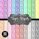 12x12 Digital Paper - Essentials & White: Tiger Stripes (600dpi) - FREE!