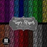 12x12 Digital Paper - Essentials & Black: Tiger Stripes (600dpi) - FREE!