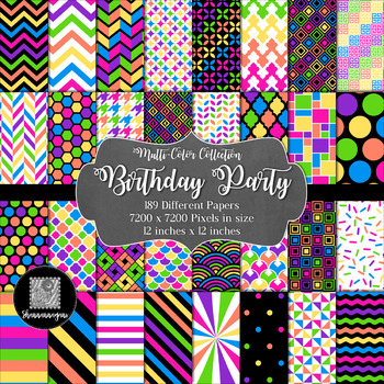 12x12 Digital Paper - Multi-Color Collection: Birthday Party