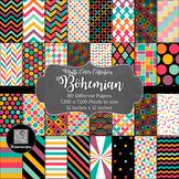 12x12 Digital Paper - Multi-Color Collection: Bohemian