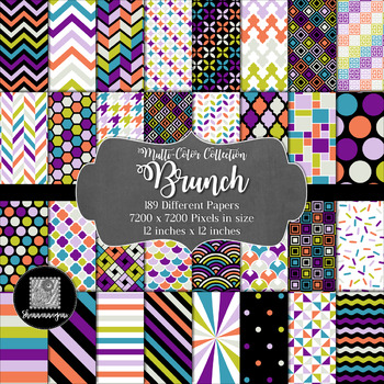 12x12 Digital Paper - Multi-Color Collection: Brunch