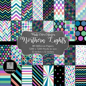 12x12 Digital Paper - Multi-Color Collection: Northern Lights