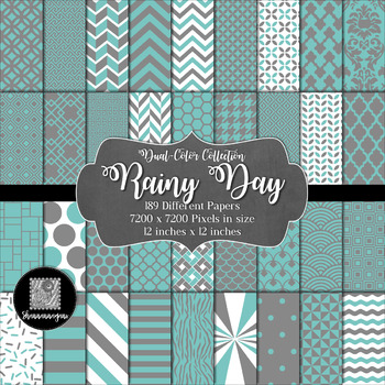 12x12 Digital Paper - Color Scheme Bundle: Rain or Shine (600dpi)