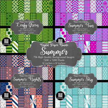 12x12 Digital Paper - Bundle: Summer (Papers included in description)