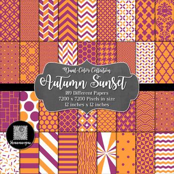 12x12 Digital Paper - Color Scheme Collection: Autumn Sunset (600dpi)