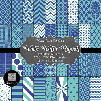 12x12 Digital Paper - Color Scheme Collection: White Water Rapids (600dpi)