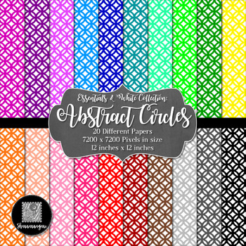 12x12 Digital Paper - Colorful and White - Abstract Circles (600dpi)