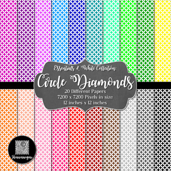 12x12 Digital Paper - Colorful and White - Circle Diamonds (600dpi)