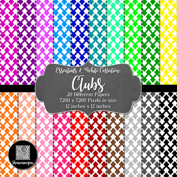 12x12 Digital Paper - Colorful and White - Clubs (600dpi)