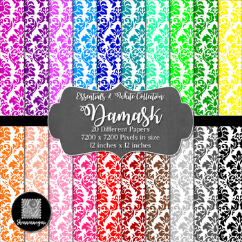 12x12 Digital Paper - Colorful and White - Damask (600dpi)
