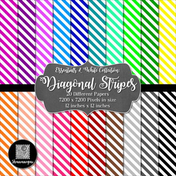 12x12 Digital Paper - Colorful and White - Diagonal Stripes (600dpi)