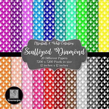 12x12 Digital Paper - Essentials & White: Scalloped Diamond (600dpi)