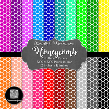 12x12 Digital Paper - Colorful and White - Honeycomb (600dpi)