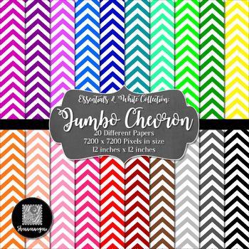 12x12 Digital Paper - Colorful and White - Jumbo Chevron (600dpi)