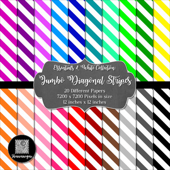12x12 Digital Paper - Colorful and White - Jumbo Diagonal Stripes (600dpi)