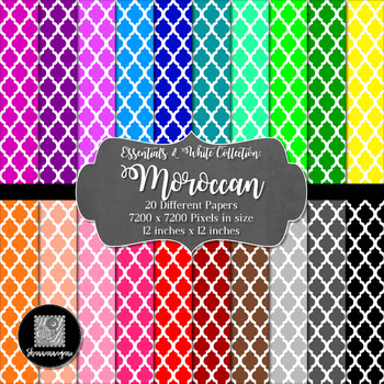 12x12 Digital Paper - Colorful and White - Moroccan (600dpi)