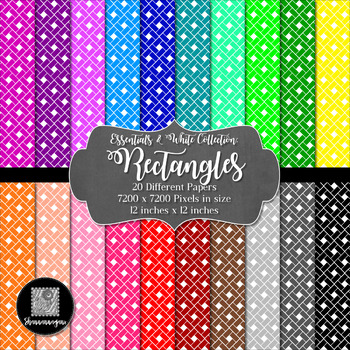 12x12 Digital Paper - Colorful and White - Rectangles (600dpi)