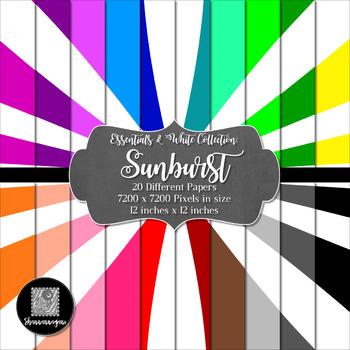12x12 Digital Paper - Colorful and White - Sunburst (600dpi)