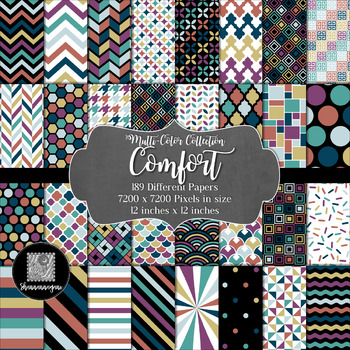 12x12 Digital Paper - Multi-Color Collection: Comfort