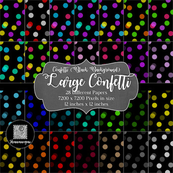 12x12 Digital Paper - Confetti: Black Background - Colorful (600dpi)