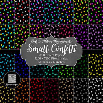 12x12 Digital Paper - Confetti: Black Background - Small Colorful (600dpi)