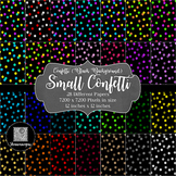 12x12 Digital Paper - Confetti: Black Background - Small