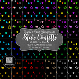12x12 Digital Paper - Confetti: Black Background - Stars