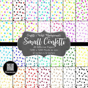 12x12 Digital Paper - Confetti: White Background - Small C