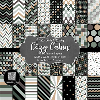 12x12 Digital Paper - Multi-Color Collection: Cozy Cabin