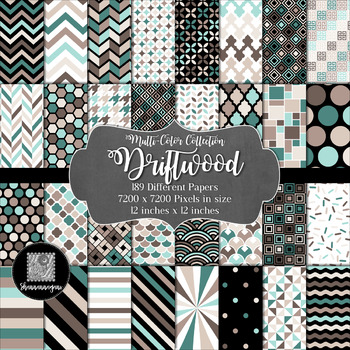 12x12 Digital Paper - Multi-Color Collection: Driftwood
