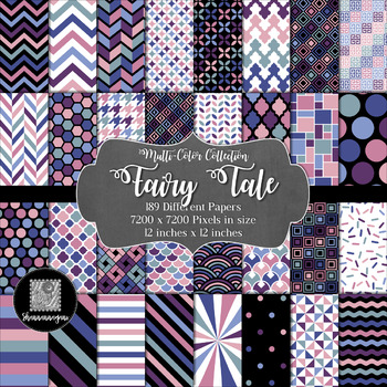 12x12 Digital Paper - Multi-Color Collection: Fairy Tale