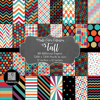 12x12 Digital Paper - Multi-Color Collection: Fall
