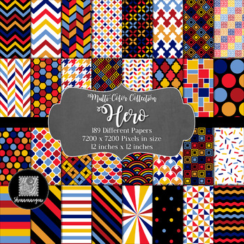 12x12 Digital Paper - Multi-Color Collection: Hero