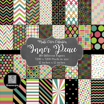 12x12 Digital Paper - Multi-Color Collection: Inner Peace
