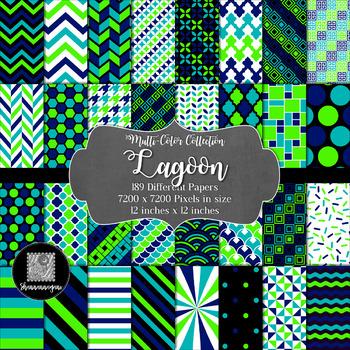 12x12 Digital Paper - Lagoon Collection (600dpi)