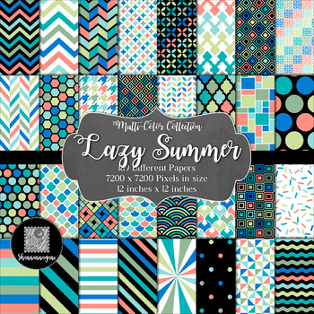 12x12 Digital Paper - Multi-Color Collection: Lazy Summer