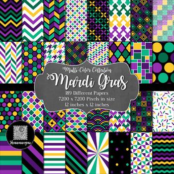 12x12 Digital Paper - Multi-Color Collection: Mardi Gras
