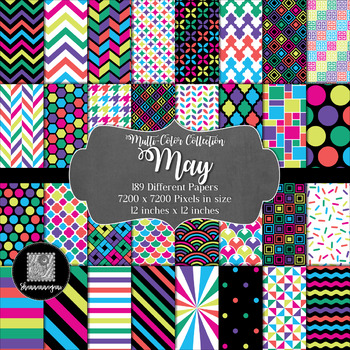 12x12 Digital Paper - Multi-Color Collection: May