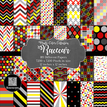 12x12 Digital Paper - Racecar Collection (600dpi)