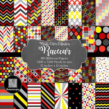 12x12 Digital Paper - Multi-Color Collection: Racecar