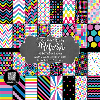 12x12 Digital Paper - Multi-Color Collection: Refresh