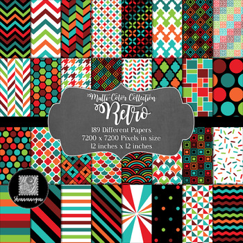12x12 Digital Paper - Multi-Color Collection: Retro