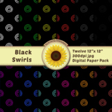 12 12x12 Digital Paper Set: Black Swirls; Scrapbooking, Ba